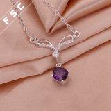女の子のための紫色の立方ジルコニアの吊り下げ式のネックレスのあたりでめっきされる銀