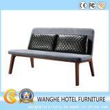 580 Sofá de ocio de marco de madera en tela con almohada