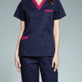 Le réversible uniforme médical de V-Collet en gros frotte du coton