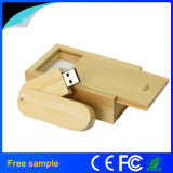 Giro de la moda de memoria Flash USB de madera con caja de embalaje