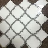 azulejo Waterjet Shaped del mármol del mosaico de la linterna para la pared