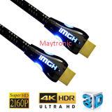 De alta calidad chapado en oro HDMI 1.4 Cable con luz LED