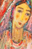 صفراء [إيندين] إمرأة صورة نوع خيش صورة زيتيّة