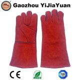 Красный Cowhide Split кожа промышленной безопасности сварщиков перчатки с маркировкой CE EN 407