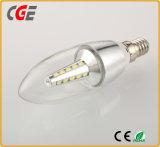Ampoule en aluminium transparente de bougie d'E27 5W DEL