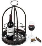 Artístico encimera de hierro forjado 4 botellas de vino de metal rack