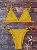 Bonito diseño una pieza trajes de baño de colores sólidos Mujer Plus Size forma de V Cadena trajes de baño Bikini