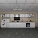 De bloemrijke Witte Keukenkasten van de Melamine van de Lak van de Lak Hoge Bruto