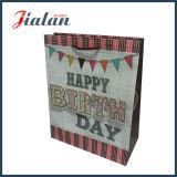 Glitter 210 g de logotipo personalizado tarjeta blanca de papel de regalo de cumpleaños bolsa