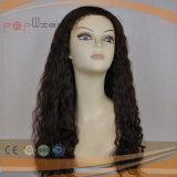 La parte superior del cabello humano Negro de encaje de silicona peluca (PPG-L-01395)