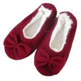 Ballerina rossa Slipper con Fur Lining, Red Dance Shoes con Bowknot