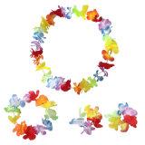 Луау гибискуса зеленой строкой разноцветных шелковых фо цветы Хуле трава юбка платье для костюм мероприятий празднования дней рождения оформление Гавайи Венок