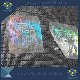 Una vez personalizada de uso fácil dañado Holograma Transparente adhesivo láser