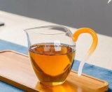 Kop van de Thee van het Glas van Pyrex de Duidelijke met de Gele Houder van het Glas