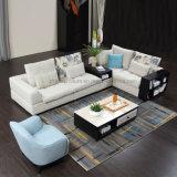 Sofà d'angolo beige del tessuto di stile semplice per mobilia domestica