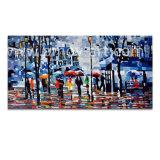 Las personas Bajo el impresionante paisaje de lluvia las pinturas de aceite para la decoración