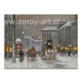 Pittura a olio Handmade di Parigi di inverno per arte della parete