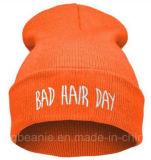100%Acrylic fêz malha o chapéu, Beanie feito malha