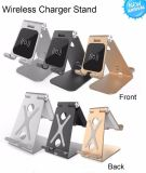 2018 Nuevos Productos 2 en 1 cargador de soporte del teléfono inalámbrico de aluminio