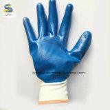 С другой стороны безопасности синий нитриловые Coted белый нейлон трикотажные рабочие перчатки
