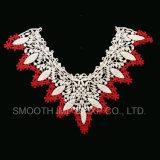 L'indumento di modo ha ricamato il collare del merletto con il tessuto Three-Colour di disegno della maglia