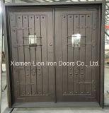 Starker Bogen-oberste doppelte bearbeitetes Eisen-Tür mit Gittern