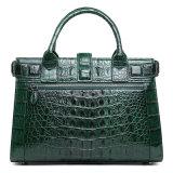 Il sacchetto di mano di vendita caldo del cuoio della pelle del coccodrillo di verde di disegno di marca con cita il certificato