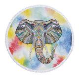 Toalha de praia redonda de Microfiber do projeto por atacado do elefante