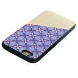 Caja híbrida del teléfono móvil de la goma TPU de la PU para iPhone-Púrpura