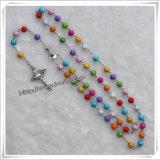 Rosario di plastica con il pendente della croce, rosario della resina, traversa del rosario (IO-cr229) del branello
