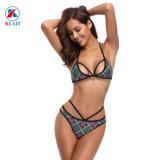 Sexy nouvelle cage d'impression géométrique Strappy femmes Bikini maillot de bain