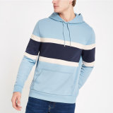 Les hommes coulisse Kangroo Pocket Colour Stripe Hoody bleu hoodies