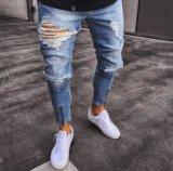 Venta al por mayor stock de moda personalizada 100% algodón/Spandex/Elastano Boy/Men's Blue skinny jeans de mezclilla Rip