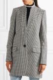 2017熱い販売標準的なHoundstoothは格子縞の女性のコートをウール混ぜる