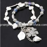 La joyería de moda de verano/ chapada con material de aleación de zinc plateado antiguo Zafiro acrílico Pulsera de cordón (PB-015)
