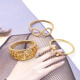 絶妙なオレンジ水晶の開いたリングの金はBowknotのプラントリングセットをめっきした