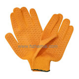Шнур хлопка связал перчатку работы безопасности многоточий PVC перчаток голубую