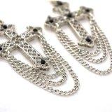 Mini orecchini di goccia acrilici neri della traversa del Rhinestone per gli orecchini della nappa del metallo placcati argento delle donne
