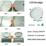 18W redondo regulable de techo empotrada Downlight LED