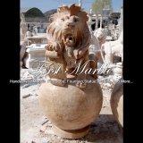 Fontein van vier de Gouden Leeuwen van de Travertijn voor Meubilair mf-1059 van de Tuin