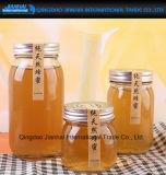 Recipiente de vidro desobstruído redondo para o alimento, mel, salmouras