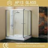 """3/8 """" vidrio Tempered del borde Polished claro para la puerta del cuarto de baño con los orificios de la bisagra, del tornillo y del bloqueo"""