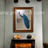 Hoja de plata Peacock Pinturas al Óleo de lienzo de animales para el hogar de Arte Deco