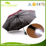 주문 가득 차있는 인쇄 파리 탑 자동적인 LED 플래쉬 등 손잡이 접히는 우산