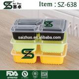 気密のふたが付いている使い捨て可能なプラスチック3コンパートメント食糧容器