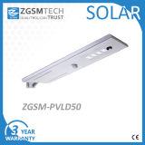 Sensor PIR 30W 40W 50W 60W de luz de calle solar integrada con la batería y el panel construido
