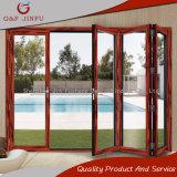 Portes de pliage en aluminium de couleur de double porte en verre en aluminium en bois de patio