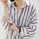 Blusa larga do colar por atacado do polo das camisas das listras das senhoras