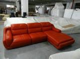 Sofá superior preto do couro de grão com canto (A849)