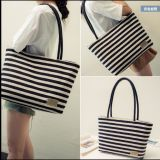 Het horizontale Canvas van Strepen Dame Handbag Shoulder Bag Tote Zak